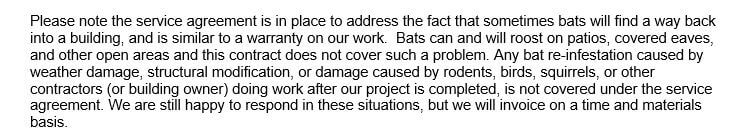 Bat Removal Service Agreement Terms