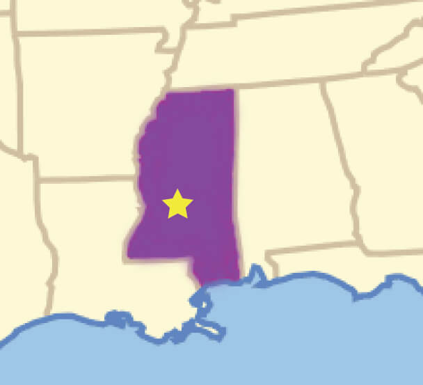 map showing location of Brandon Mississippi