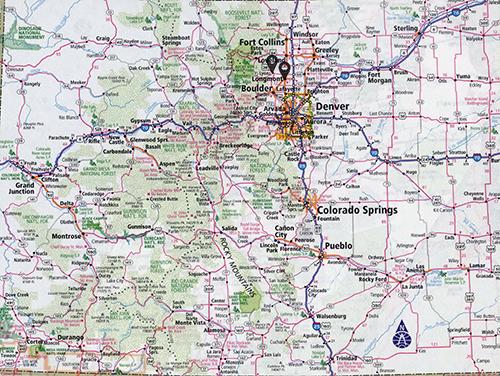 a map showing locations of dead rabid bats found in colorado in 2021